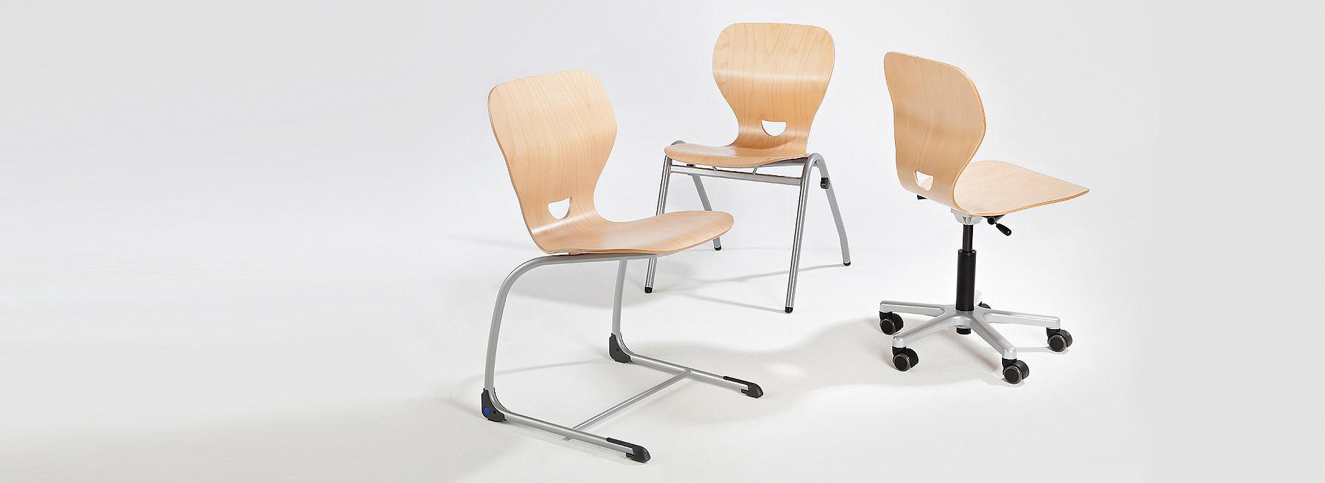 Bild: SEDIAMO® Ligno Stühle - SEDIAMO® Swing Ligno, Cross Ligno und Elan Ligno