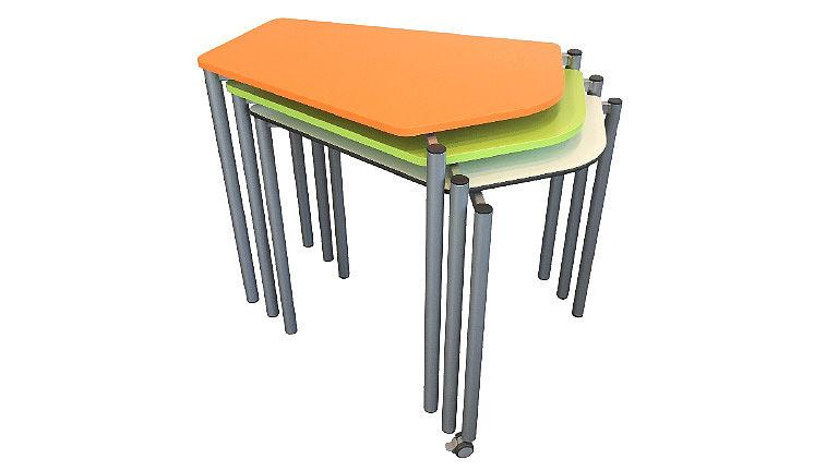 Bild: Platzsparend gestapelte ORGANIC Penta Tische