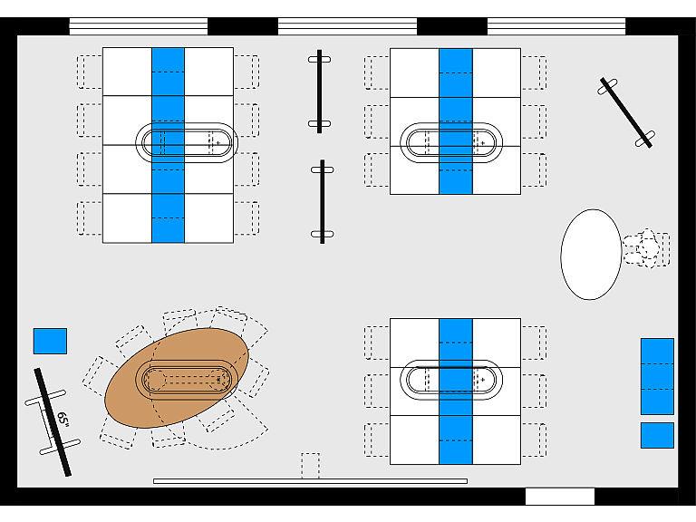 Bild: Planungsbeispiel Makerspace im Lernraum, Großgruppen