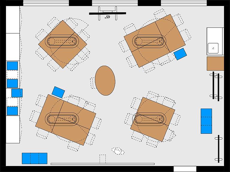 Bild: Planungsbeispiel Makerspace im MINT-Raum, Kleingruppen