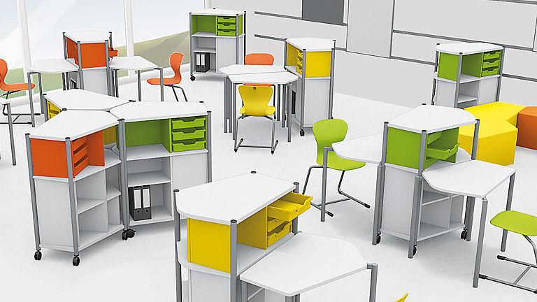 Bild: ORGANIC Penta Tische im Klassenzimmer