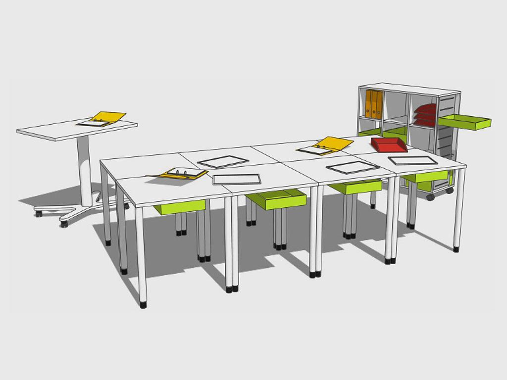 Sketch of learning furniture: grouped desks