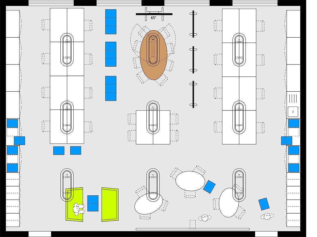 Bild: Planungsbeispiel Makerspace im Lehrerzimmer, Arbeitsinseln