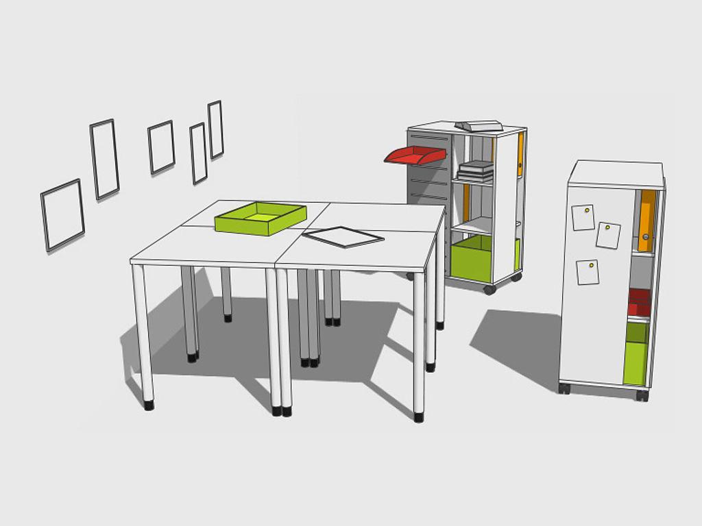 Sketch of learning furniture: 4 grouped desks