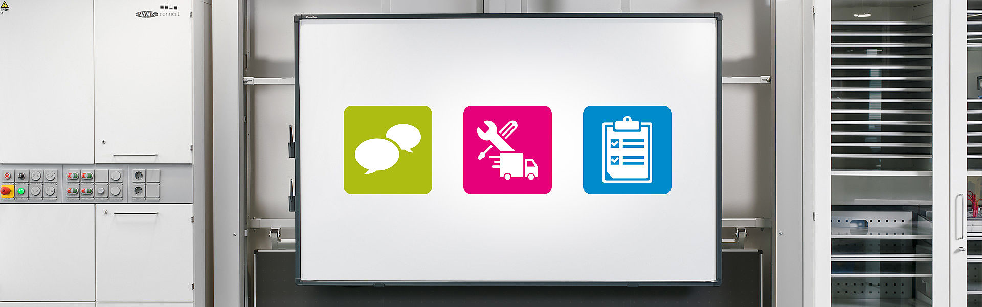 Bild: Hohenloher Interaktive Tafel mit Service Icons