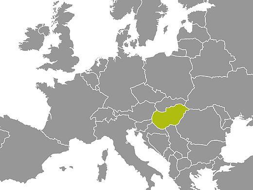 Landkarte mit Ungarn