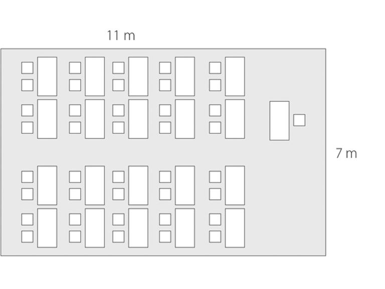 Bild: Raum mit 77 qm für 40 Personen